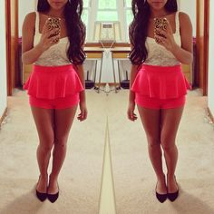 Lace Top and Peplum Shorts♥♥