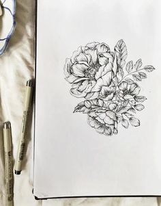 Peonies Botanical 5x7 Floral Pen & Ink Hand Drawn by emiliebelle