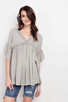 d11a62cdf3 Ruby Boho Crochet Trim Lace Up Tunic Top : Faded Sage – GOZON Boutique  Crochet Trim