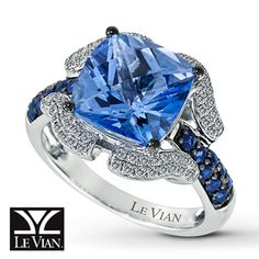 LeVian® 14K Gold Diamond, Natural Sapphire & Blue Topaz Ring