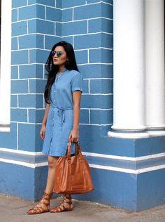 Denim Dress – Allen Schwartz   Sunglasses – Dior   Bag – Accessorize   Sandals – Forever 21   Lipstick- Stila Liquid Lipstick in Patina  #denimdress #denim #styllogue #fashionblogger #streetstyle #shirtdress #indianfashionblogger #diorsunglasses #summertrends