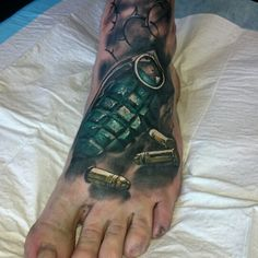 Final touches on a ww2 leg sleeve. Grenade foot