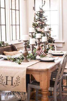 Monogrammed burlap table runner featured by Caitlin @modernfamilyfarm