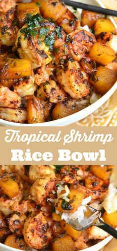 Delicious and aromatic dish is made with juicy shrimp… Tropical Shrimp Rice Bowl. Delicious and aromatic dish is made with juicy shrimp, sweet pineapples, and a beautiful sweet, tangy, and spicy sauce. Shrimp Recipes For Dinner, Shrimp Recipes Easy, Healthy Recipes, Fish Recipes, Cooking Recipes, Steak Recipes, Crockpot Recipes, Summer Shrimp Recipe, Tropical Shrimp Recipe