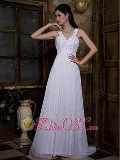 Customize Empire V-neck Wedding Dress Watteau Train Taffeta and Chiffon Pleat and Beading  Item Code: WD6221FOS     mg