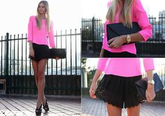 Neon Pink Blouse, Lace Shorts