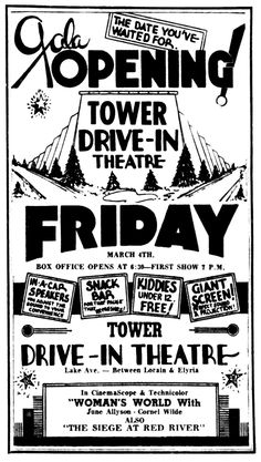 Back when drive-in movie theaters were young, it was apparently a big deal when they reopened for the season. Ads like the one above for t. Drive Inn Movies, Drive In Movie Theater, Movie Sites, City Limits, Great Memories, Old Movies, Vintage Ads, Movie Tv, Nostalgia