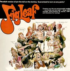 Figleaf game w/art by Jack Davis. 1972 Stancraft Productions via AndEverythingElseToo blog Classic Artwork, Vintage Artwork, Jack Davis, Games W, Fig Leaves, The Donkey, Blog, Blogging