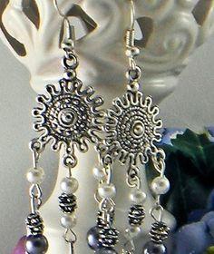 Sunburst Silver Dangle & Pearl Earrings   AmeliaOriginals - Jewelry on ArtFire