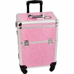 Professional Rolling Cosmetic Makeup Case with Removable Tray and Divider Color: Pink Crocodile by Sunrise Cases. $104.99. E6301CRPK Color: Pink Crocodile Features: -360 Degree rolling wheel system.-Wider opening at top of the case for easy access.-Heat resistant exterior material keeps the case cool and protects your cosmetics.-Retractable / telescoping handle for extra durability with inline skate wheels for easy rolling.-Removable tray with adjustable dividers and mirror....