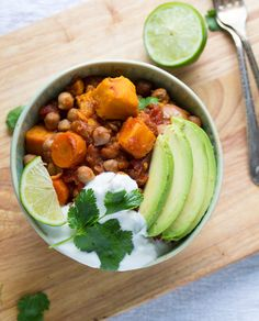 Sweet Potato and Chickpea Chili with Lime- a slow cooker recipe