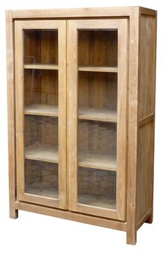 Unique, rustic and eco-friendly!  This cupboard can be used as a bookcase, display case, china cabinet and more. #teak #furniture #rustic #rusticfurniture #homedecor #cabinet #cupboard #displaycase #bookcase