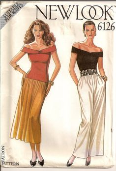 Off the Shoulder Top Sewing Pattern Womens Skirt Womens Pants New Look 6126 Supplies Clothing Uncut Pattern
