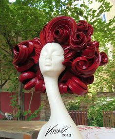 Variety of foam Wigs--now THAT is a statement wig! Love the exhuberance.