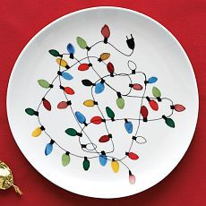 Christmas Lights Plate - use Linc's thumb prints with porcelain paint for the bulbs?