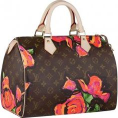 Speedy 30 Louis Vuitton speedy brown monogramouflauge with red roses. Limited edition