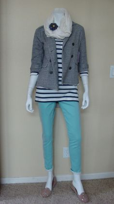 Daily Look: @CAbiclothing #Spring '13 Thin #Mint Jegging, New Striped Shirt and Shrunken Pea Coat.