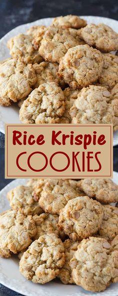 Rice Krispie Cookies - Healthy Food And Delicious Recipes Lemon Cookies, No Bake Cookies, Yummy Cookies, Cookies Et Biscuits, Making Cookies, Cookie Desserts, Just Desserts, Dessert Recipes, Dessert Food