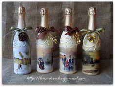 Декупаж бутылки шампанского своими руками