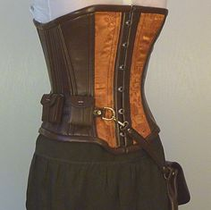 Custom Steampunk utility corset, copper brocade, Neo Victorian steel boning coutil