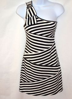 Juniors Size Large Black and White Stripe One Shoulder Dress Fitted | eBay