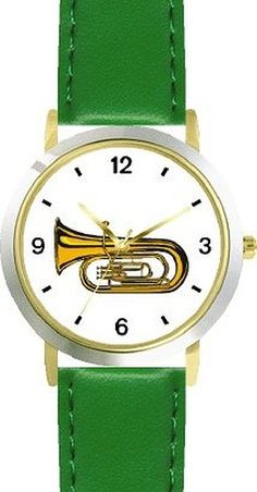 Gage.   Tenor Horn, Euphonium or Tuba Musical Instrument - Music Theme - WATCHBUDDY® DELUXE TWO-TONE THEME WATCH - Arabic Numbers - Green Leather Strap-Size-Women's Size-Small