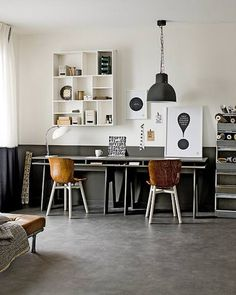 Half painted wall, workspace, black and white, neutrals