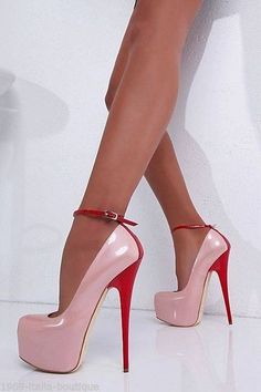 stiletto ankle strap platform pumps  pink + red nice combination