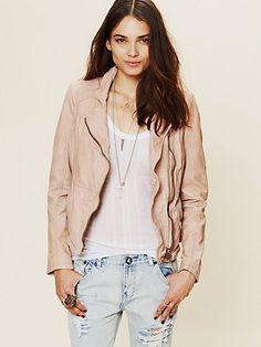 Dusty Pink Leather Jacket - JacketIn