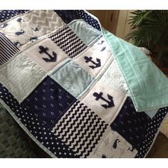 Anchor Quilt in Soft Blues White and Navy With Ultra Soft Back (640 MYR) ❤ liked on Polyvore featuring home, bed & bath, bedding, quilts, blankets & throws, grey, home & living, navy blue white bedding, navy bedding and anchor bedding
