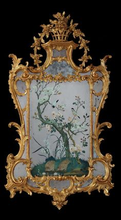 A GEORGE III REVERSE MIRROR PAINTING IN A GILTWOOD FRAME ATTRIBUTED TO JOHN LINNELL. The frame: English, ca 1765 . The reverse mirror painting: Chinese, ca 1765  Height: 58 ½ in; 148.5 cm  Width: 32 in; 81.5 cm