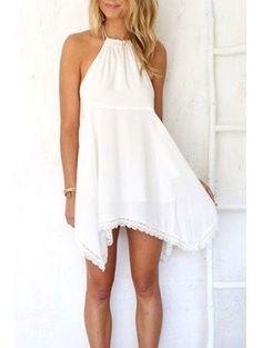 AdoreWe - Zaful Halter Neck Solid Color Lace Edging Sleeveless Dress - AdoreWe.com