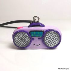 Kawaii Clay Charm Boombox Necklace Clay by PitterPatterPolymer, $18.00