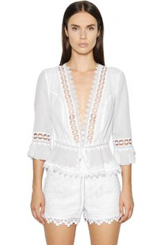 CHARO RUIZ, Cotton voile & lace top, White, Luisaviaroma - Deep V neck . Lace trim and inserts . Cotton voile lining. Unlined lace inserts and sleeves. Sample size: S Charo Ruiz, Chor, Couture, Little Dresses, Fashion 2018, Blouse Designs, Clothes For Women, Outfits, Lace Design