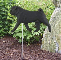 Pug Outdoor Garden Dog Sign Hand Painted Figure Black available at www.DogLoverStore.com