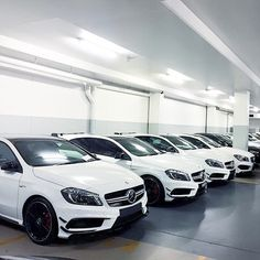 A sea of A45 AMG. Photo shot by @chrissagramola.   #MercedesBenz #MercedesAMG #AMG #A45AMG #whitecars #drivingperformance #highperformance