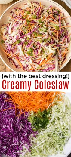Classic Coleslaw with the best homemade coleslaw dressing. This creamy coleslaw is ready in 10 minutes and perfect for sandwiches, potlucks and cookouts. Classic Coleslaw Recipe, Coleslaw Recipe Easy, Healthy Coleslaw, Coleslaw Salad, Homemade Coleslaw Dressing, Sandwiches, How To Make Coleslaw, Potluck Side Dishes, Salads