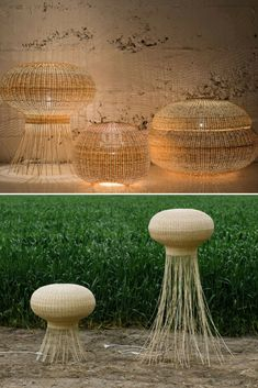 Wicker lamp collection, made by Chilean design group, self produced lighting and furniture lined made in mimbre. Floor and pendant lamps available.  source #Floorlamp #Lamp #Lighting #Lightingdesign #Modernlighting #Pendantlamp