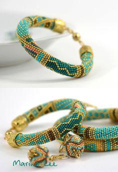 Samarqand Bead Crochet Bracelet Beaded Bracelet by LeeMarina - bead weaving.