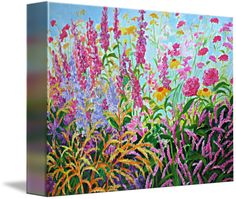A colorful garden of confetti like wildflowers for your home or apartment. Choose stretched canvas or matt color and frame design.  A rare find to add to your fine art collection.