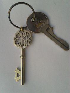 monogram keychain by RenovatioDesign on Etsy