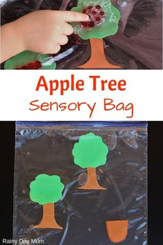 A simple sensory bag for fall for toddlers and preschoolers. Count the apples on to and off the tree with this hands-on sensory math activity. Infant Sensory Activities, Apple Activities, Sensory Bags, Motor Skills Activities, Preschool Learning Activities, Play Based Learning, Baby Sensory, Toddler Preschool, Preschool Science