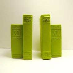 Neon vintage bookends // chartreuse lime green // mid century bookend // books…