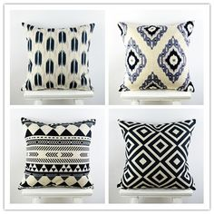 """18""""*18"""" Decorative Ikea Pillow Cover  Feather Cross Flower Printed Black Linen Cotton Sofa Throw Cushion Cover Pillow Case"""