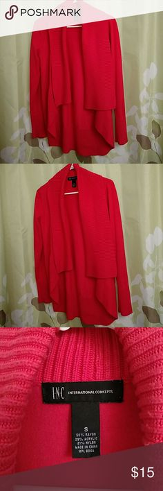 INC Coral Drapey Sweater Size Small  Orange/but more of a coral color  Very striking color, always received compliments when I wore this  It is moderately worn with slight signs of wear, few tiny fabric balls INC International Concepts Sweaters Shrugs & Ponchos
