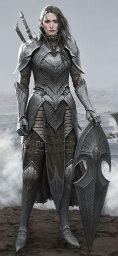 Female, elf, plate, shield