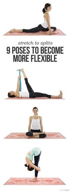 Easy Yoga Workout - 9 Poses to Become More Flexible. … Get your sexiest body ever without,crunches,cardio,or ever setting foot in a gym Fitness Workouts, Fitness Motivation, Yoga Fitness, Fitness Tips, Health Fitness, Fitness Foods, Yoga Workouts, Muscle Fitness, Hip Stretching Exercises