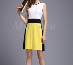 Fresh Yellow Patchwork Formal Clothing Elegant Design by Meetyou, $62.88