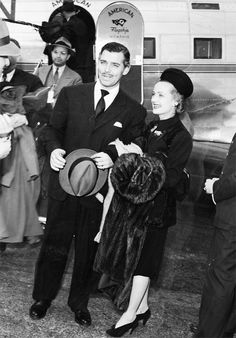 Carole Lombard and Clark Gable arriving in Burbank.