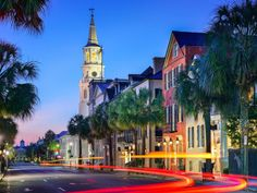 Buy Charleston South Carolina by SeanPavonePhoto on PhotoDune. Charleston, South Carolina, USA cityscape in the historic French Quarter at twilight. Moving To South Carolina, South Carolina Vacation, Charleston South Carolina, Carolina Usa, Columbia South Carolina, Moving To Charleston Sc, Charleston Hotels, North Carolina Beaches, Best Places To Travel